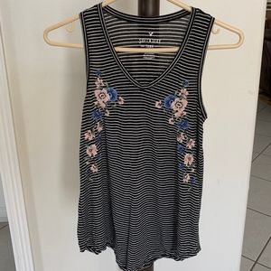 Floral Embroidered Stripped Tank American Eagle